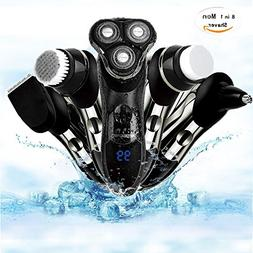 Electric Shaver,Beard Trimmer 8 In 1 Men Rotary Washable Rec