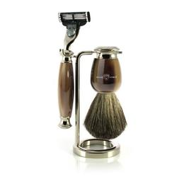Edwin Jagger Simulated Horn and Nickel Shaving Set, Brown/Cr